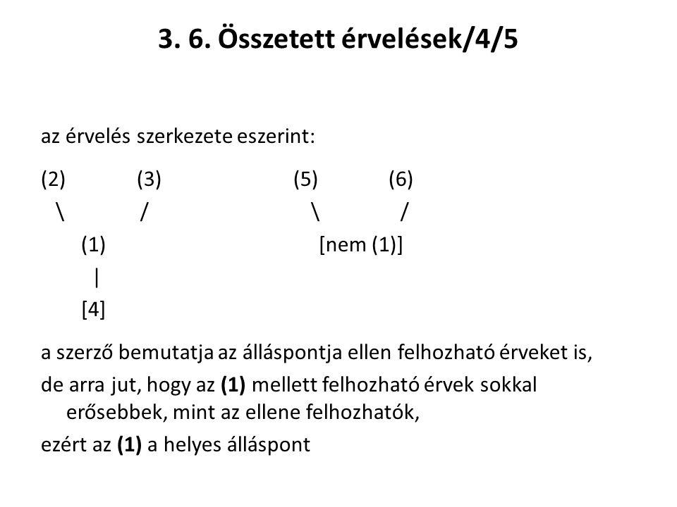 3. 6. Összetett érvelések/4/5 az érvelés szerkezete eszerint: (2) (3) (5) (6) \ / \ / (1) [nem (1)] | [4] a szerző bemutatja az álláspontja ellen felh