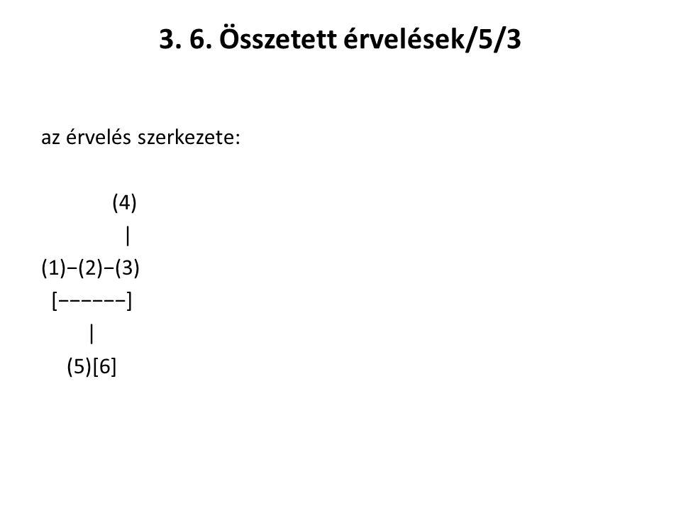 3. 6. Összetett érvelések/5/3 az érvelés szerkezete: (4) | (1)−(2)−(3) [−−−−−−] | (5)[6]