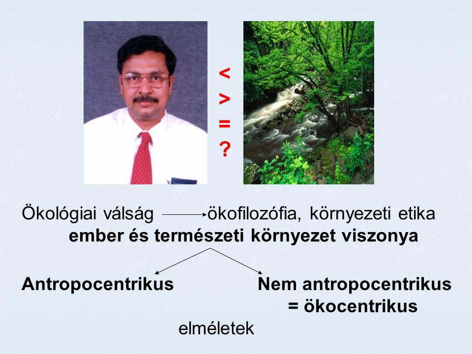 <>=?<>=? Ökológiai válság ökofilozófia, környezeti etika ember és természeti környezet viszonya Antropocentrikus Nem antropocentrikus = ökocentrikus e