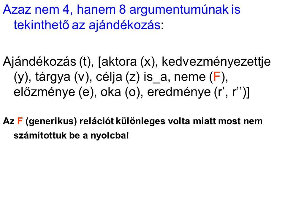 Azaz nem 4, hanem 8 argumentumúnak is tekinthető az ajándékozás: Ajándékozás (t), [aktora (x), kedvezményezettje (y), tárgya (v), célja (z) is_a, neme