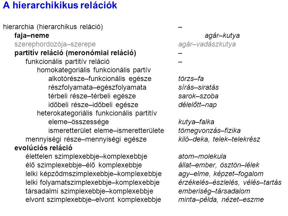 A hierarchikikus relációk hierarchia (hierarchikus reláció)– faja–nemeagár–kutya szerephordozója–szerepeagár–vadászkutya partitív reláció (meronómiai