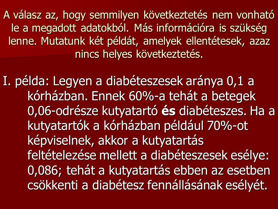 2. feladat Egy kórházban megkérdezték a diabéteszes betegeket háziállat tartási szokásaikról.