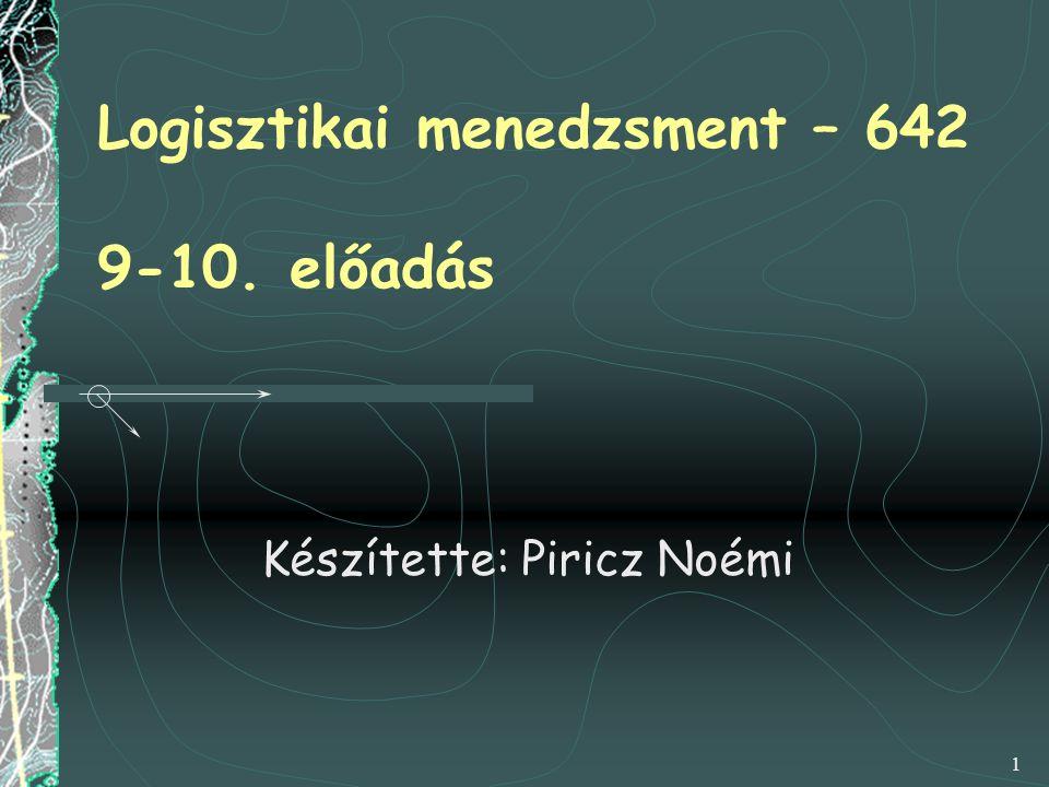1 Logisztikai menedzsment – 642 9-10. előadás Készítette: Piricz Noémi