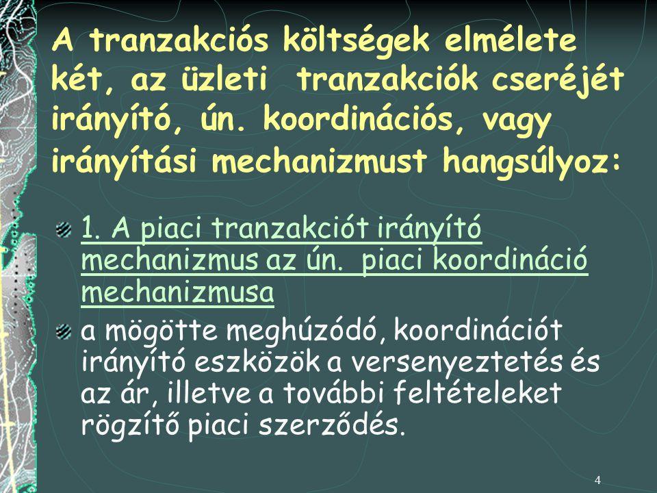 4 A tranzakciós költségek elmélete két, az üzleti tranzakciók cseréjét irányító, ún. koordinációs, vagy irányítási mechanizmust hangsúlyoz: 1. A piaci