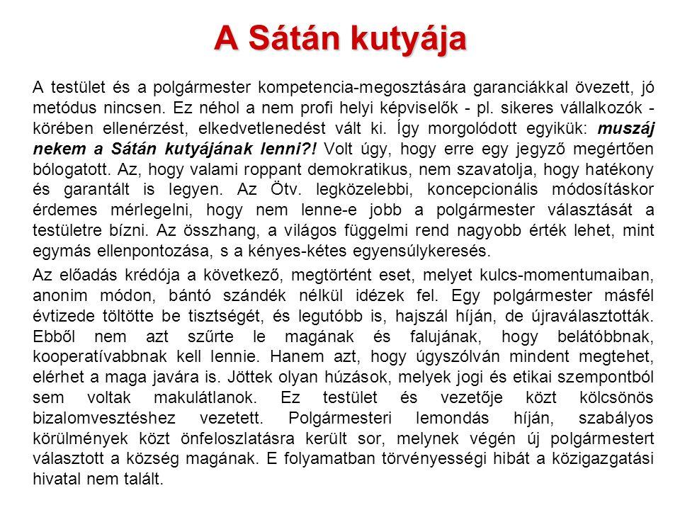 A Sátán kutyája A testület és a polgármester kompetencia-megosztására garanciákkal övezett, jó metódus nincsen.