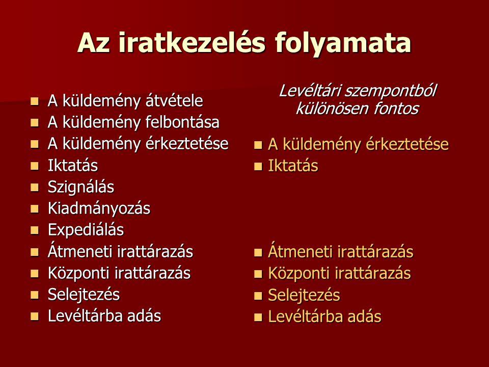 Az iratselejtezés közlevéltári ellenőrzése I.Jogalap: 10/2002.