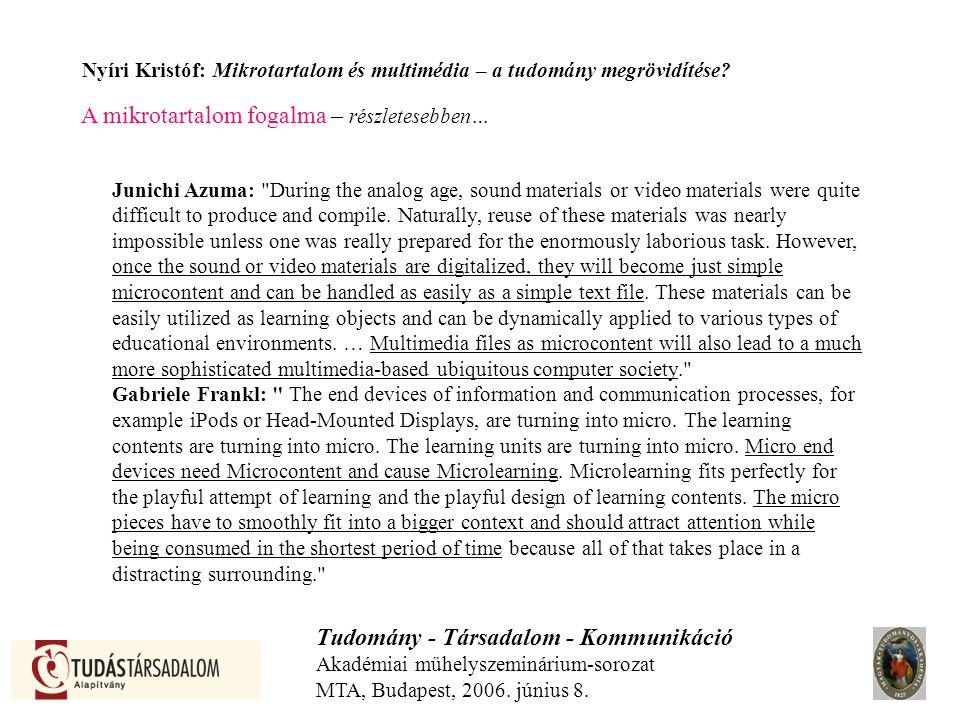 Nyíri Kristóf: Mikrotartalom és multimédia – a tudomány megrövidítése.