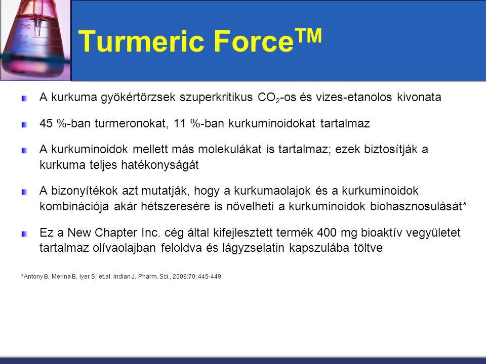 Turmeric Force TM A kurkuma gyökértörzsek szuperkritikus CO 2 -os és vizes-etanolos kivonata 45 %-ban turmeronokat, 11 %-ban kurkuminoidokat tartalmaz