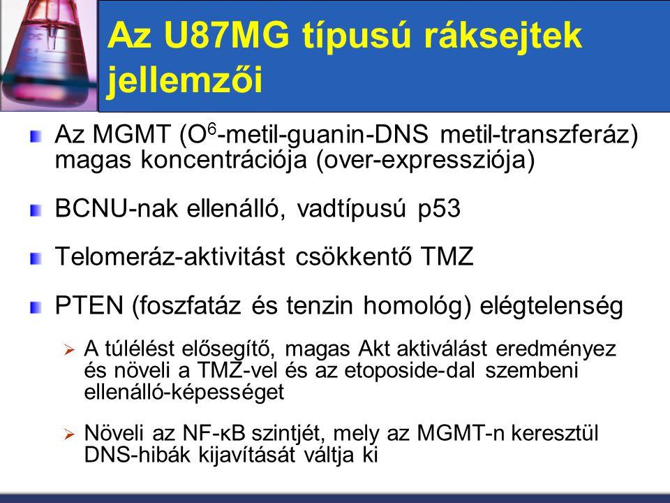 Az U87MG típusú ráksejtek jellemzői Az MGMT (O 6 -metil-guanin-DNS metil-transzferáz) magas koncentrációja (over-expressziója) BCNU-nak ellenálló, vad