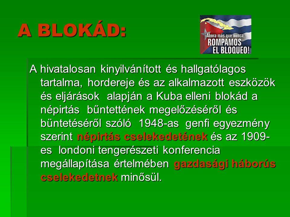 A BLOKÁD: A hivatalosan kinyilvánított és hallgatólagos tartalma, hordereje és az alkalmazott eszközök és eljárások alapján a Kuba elleni blokád a nép