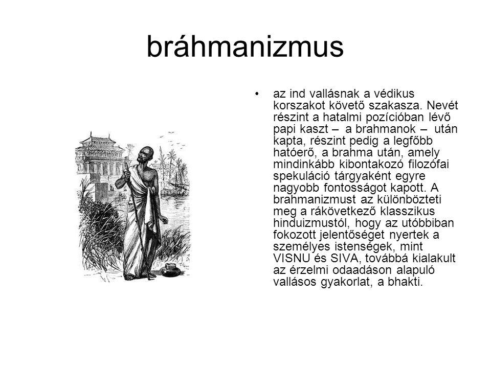 bráhmanizmus az ind vallásnak a védikus korszakot követő szakasza. Nevét részint a hatalmi pozícióban lévő papi kaszt – a brahmanok – után kapta, rész