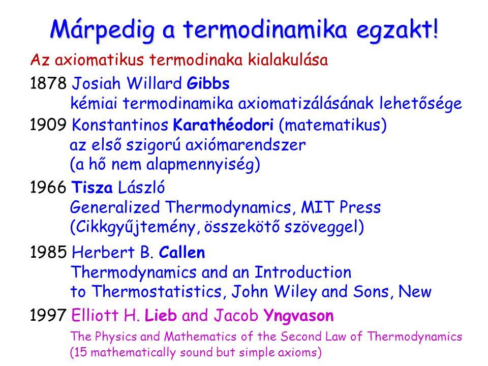 Márpedig a termodinamika egzakt! Az axiomatikus termodinaka kialakulása 1878 Josiah Willard Gibbs kémiai termodinamika axiomatizálásának lehetősége 19