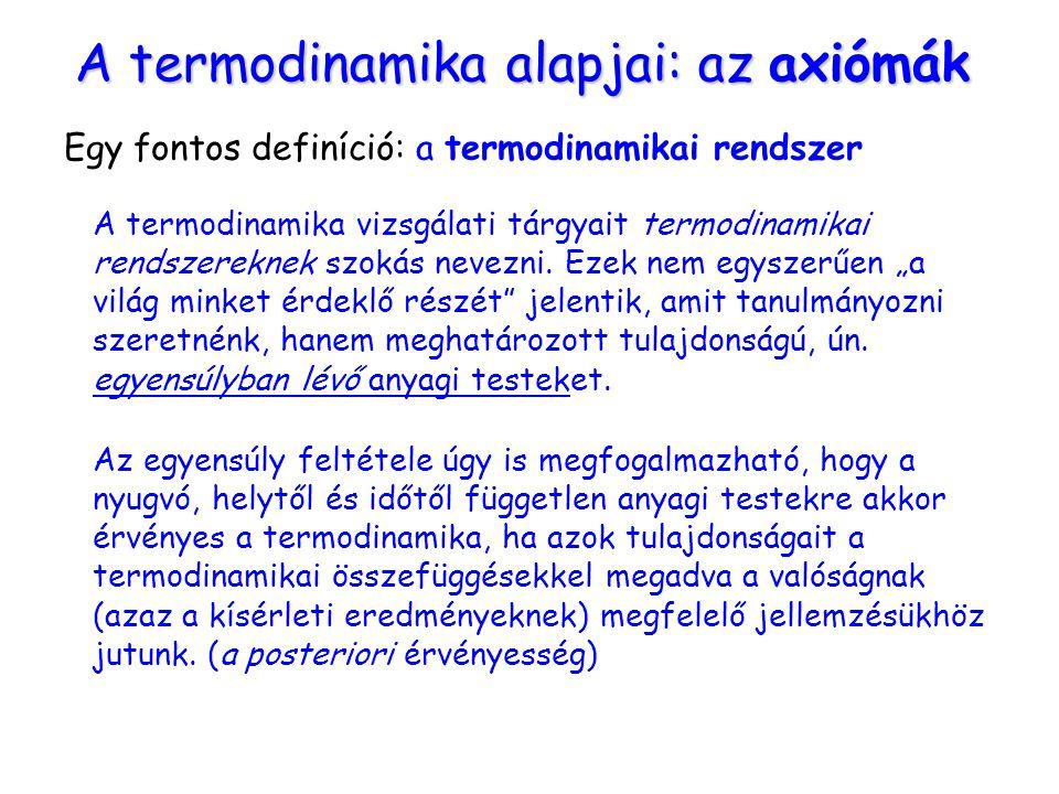 A termodinamika alapjai: az axiómák Egy fontos definíció: a termodinamikai rendszer A termodinamika vizsgálati tárgyait termodinamikai rendszereknek s