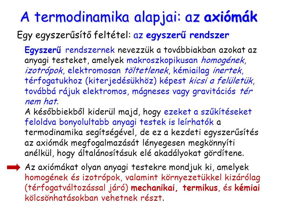 A termodinamika alapjai: az axiómák Egy egyszerűsítő feltétel: az egyszerű rendszer Egyszerű rendszernek nevezzük a továbbiakban azokat az anyagi test