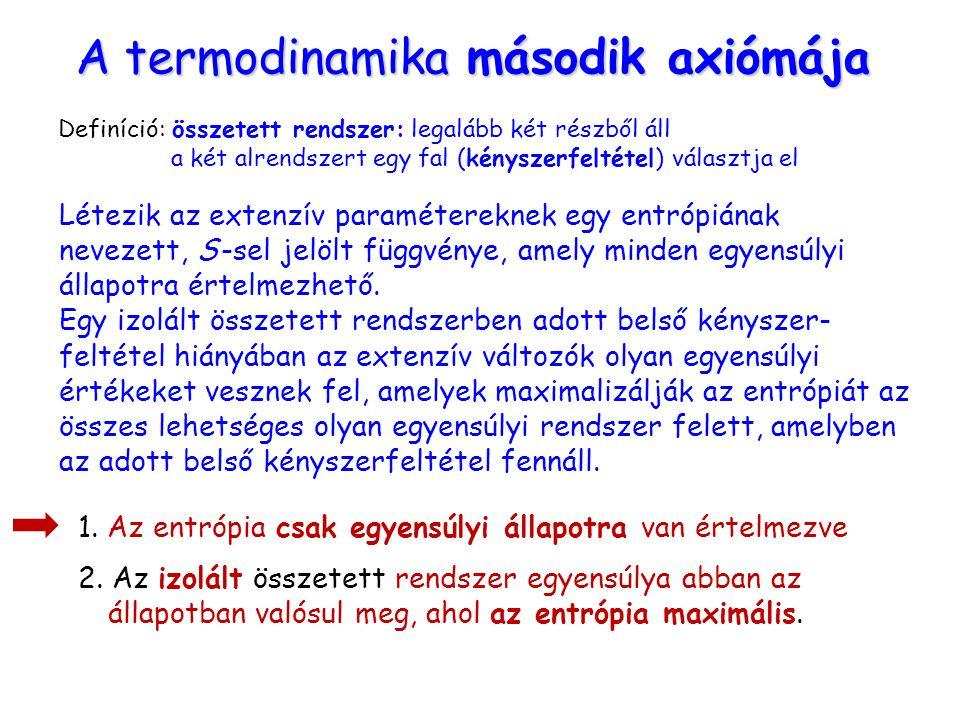 A termodinamika második axiómája Létezik az extenzív paramétereknek egy entrópiának nevezett, S -sel jelölt függvénye, amely minden egyensúlyi állapot