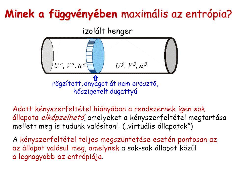 Minek a függvényében maximális az entrópia? izolált henger rögzített, anyagot át nem eresztő, hőszigetelt dugattyú U α, V α, n α U β, V β, n β Adott k