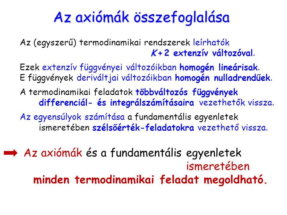 Az axiómák összefoglalása Az (egyszerű) termodinamikai rendszerek leírhatók K + 2 extenzív változóval. Ezek extenzív függvényei változóikban homogén l