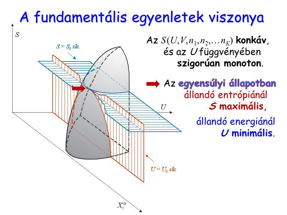 A fundamentális egyenletek viszonya Az S (U, V, n 1, n 2,… n K ) konkáv, és az U függvényében szigorúan monoton.