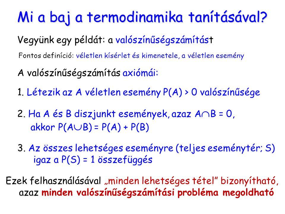 Mi a baj a termodinamika tanításával? Vegyünk egy példát: a valószínűségszámítást A valószínűségszámítás axiómái: 1. Létezik az A véletlen esemény P(A