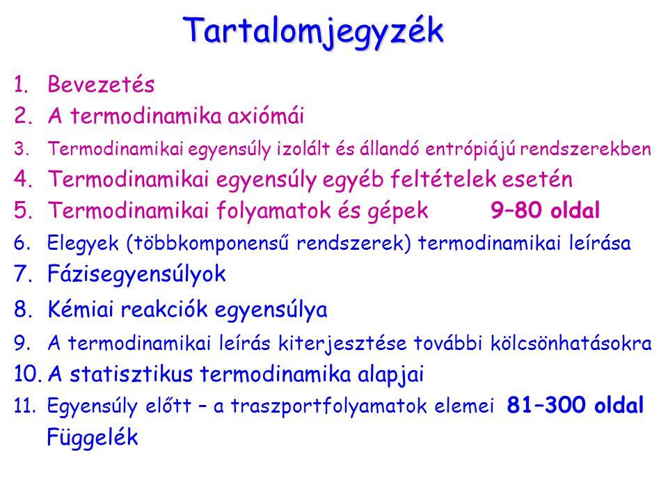 Tartalomjegyzék 1.Bevezetés 2.A termodinamika axiómái 3.Termodinamikai egyensúly izolált és állandó entrópiájú rendszerekben 4.Termodinamikai egyensúl
