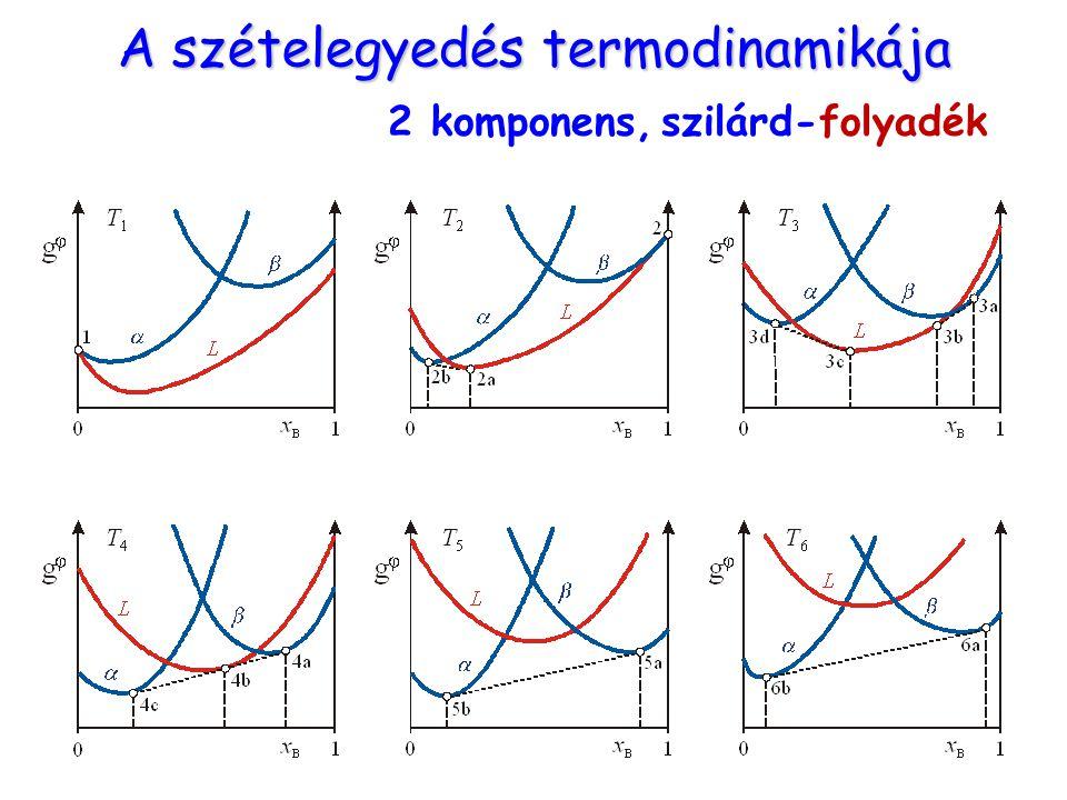 A szételegyedés termodinamikája 2 komponens, szilárd-folyadék