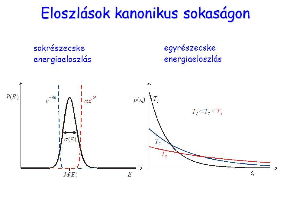 Eloszlások kanonikus sokaságon sokrészecske energiaeloszlás egyrészecske energiaeloszlás