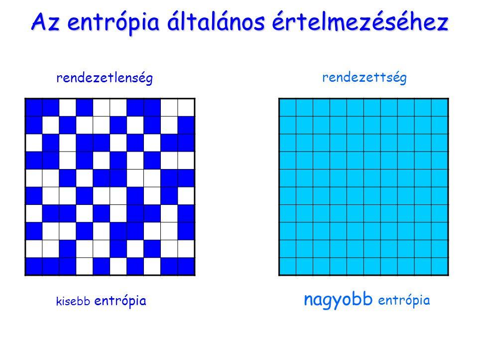 Az entrópia általános értelmezéséhez rendezetlenség rendezettség kisebb entrópia nagyobb entrópia