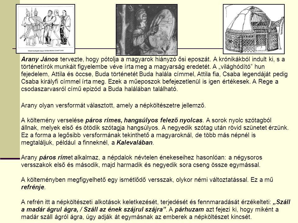 A magyar ősköltészetnek néhány korunkig megőrzött gyöngyszeme az uralkodóház hun származásának történeti hagyományát és a nőrablás régi szokásának emlékét fenntartó eredetmonda, az Álmos tetteiről mesélő vallásos színezetű Turul-monda, a fejedelemválasztás és vérszerződés, a fehér ló, Lél (Lehel) kürtje, az erős Botond és még sok más gyönyörű monda, mely a későbbi mondákban és népmeséikben felismerhető ősi elemekkel és motívumokkal együtt a magyar népfantázia termékenységének és az ősi monda- és meseköltészet gazdagságának ékesen szóló tanúi.