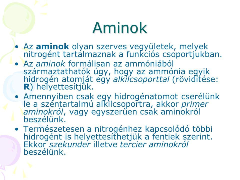 Aminok Az aminok olyan szerves vegyületek, melyek nitrogént tartalmaznak a funkciós csoportjukban. Az aminok formálisan az ammóniából származtathatók