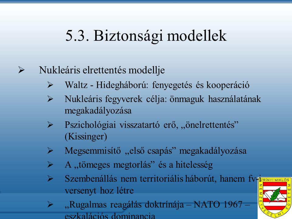 5.3. Biztonsági modellek  Nukleáris elrettentés modellje  Waltz - Hidegháború: fenyegetés és kooperáció  Nukleáris fegyverek célja: önmaguk használ