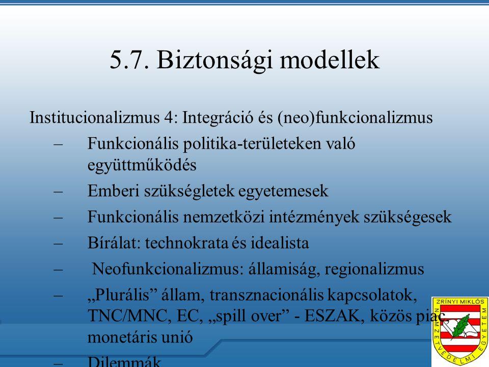 5.7. Biztonsági modellek Institucionalizmus 4: Integráció és (neo)funkcionalizmus –Funkcionális politika-területeken való együttműködés –Emberi szüksé