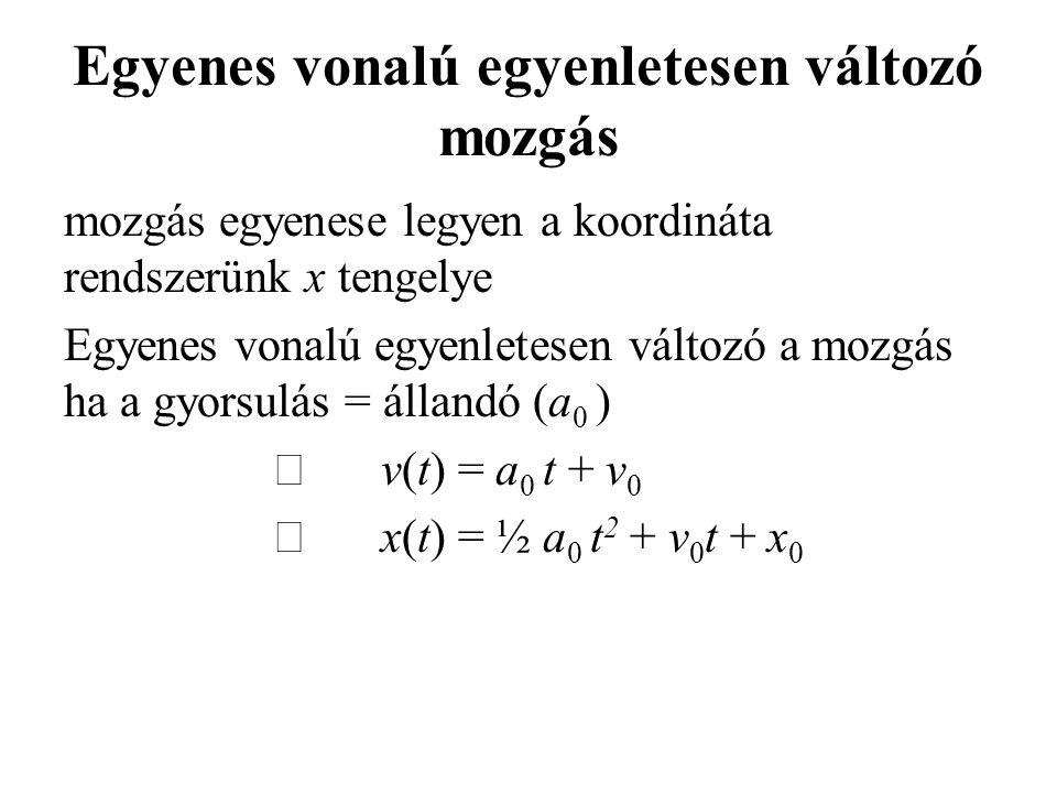 Egyenes vonalú egyenletesen változó mozgás mozgás egyenese legyen a koordináta rendszerünk x tengelye Egyenes vonalú egyenletesen változó a mozgás ha