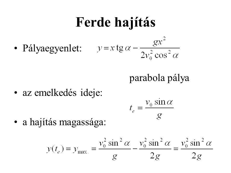 Ferde hajítás Pályaegyenlet: parabola pálya az emelkedés ideje: a hajítás magassága: