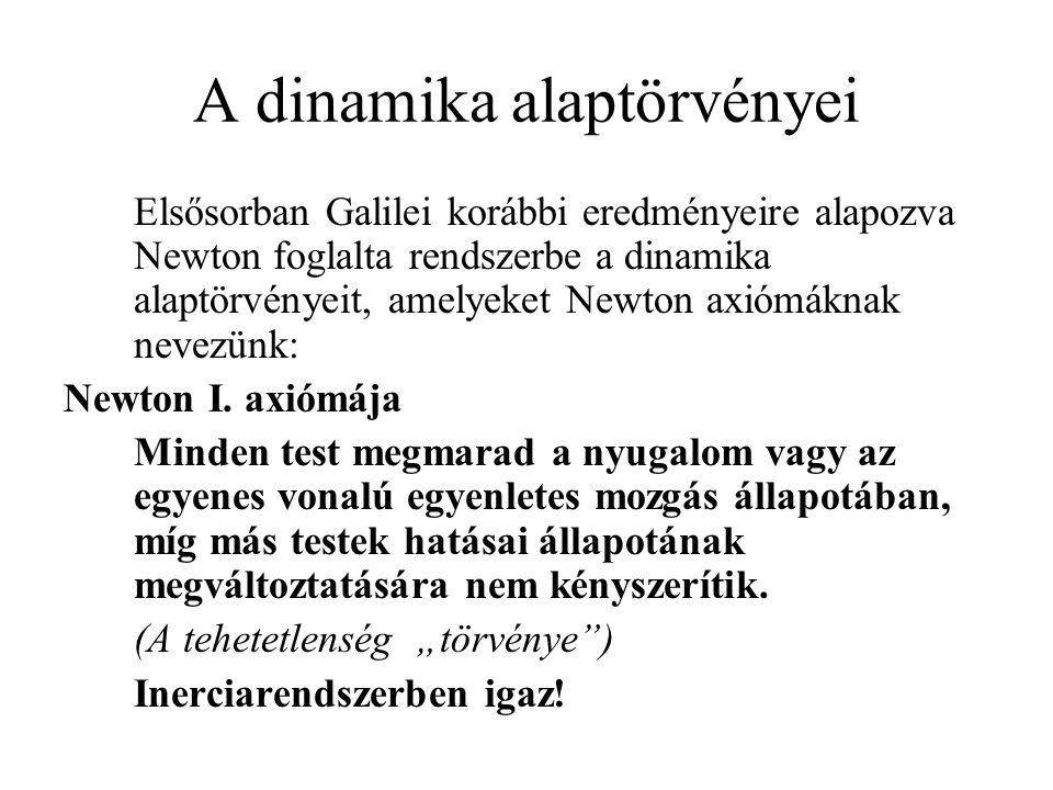 A dinamika alaptörvényei Elsősorban Galilei korábbi eredményeire alapozva Newton foglalta rendszerbe a dinamika alaptörvényeit, amelyeket Newton axióm