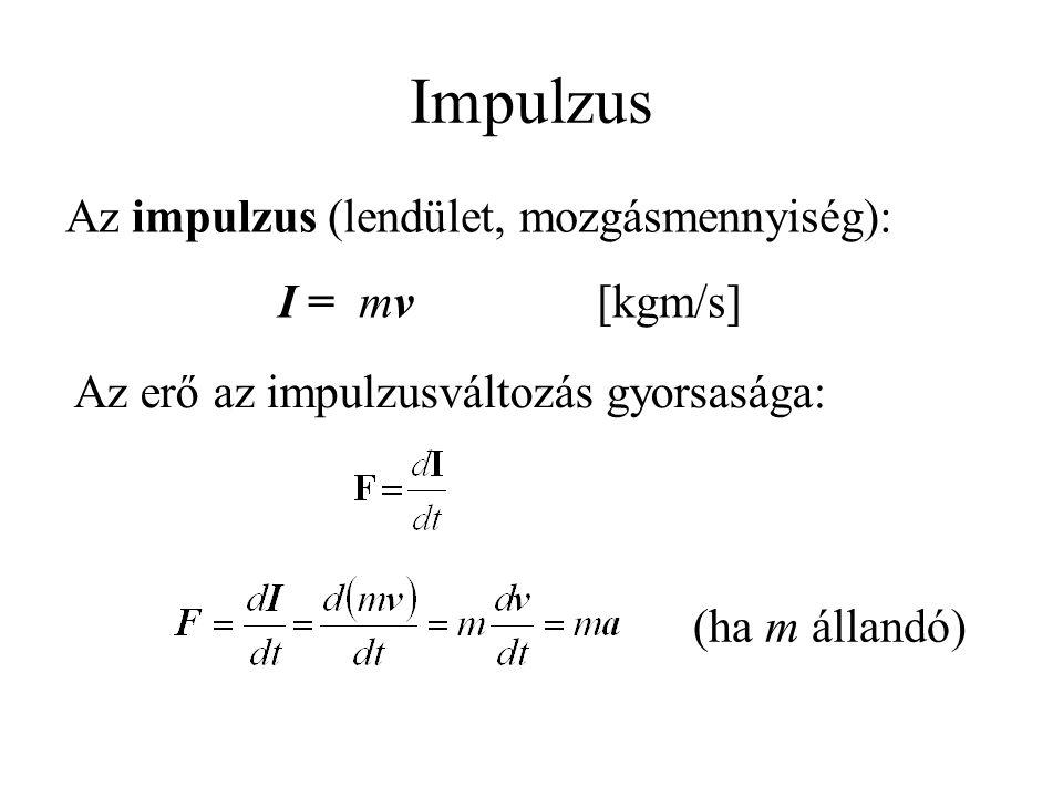 Az impulzus (lendület, mozgásmennyiség): I = mv[kgm/s] Az erő az impulzusváltozás gyorsasága: (ha m állandó) Impulzus