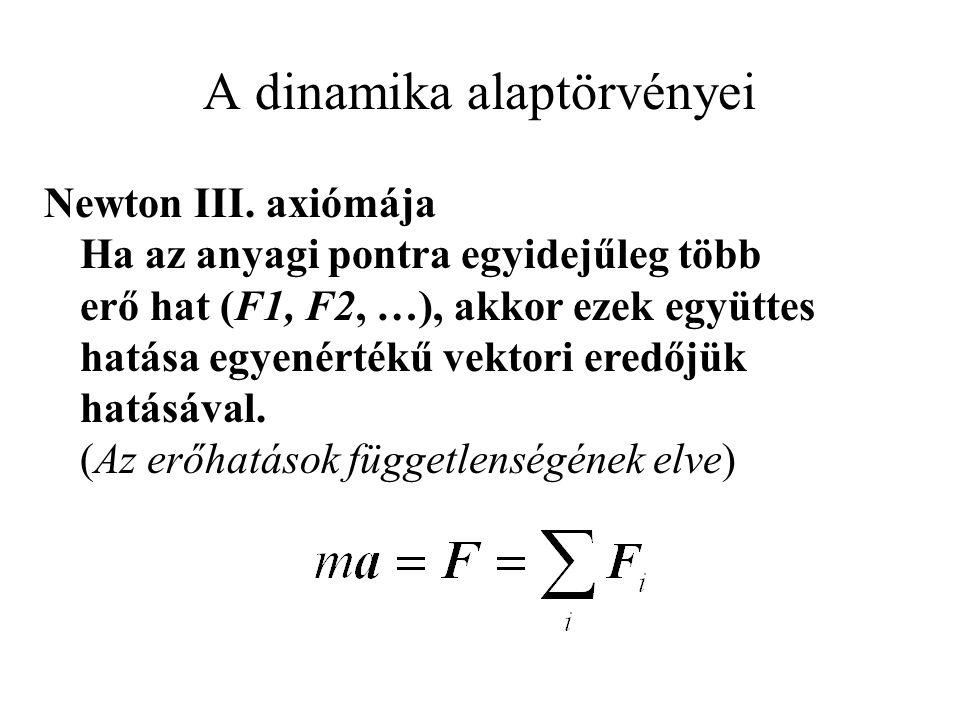 A dinamika alaptörvényei Newton III. axiómája Ha az anyagi pontra egyidejűleg több erő hat (F1, F2, …), akkor ezek együttes hatása egyenértékű vektori
