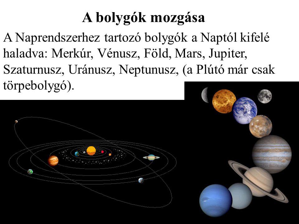 A bolygók mozgása A Naprendszerhez tartozó bolygók a Naptól kifelé haladva: Merkúr, Vénusz, Föld, Mars, Jupiter, Szaturnusz, Uránusz, Neptunusz, (a Pl