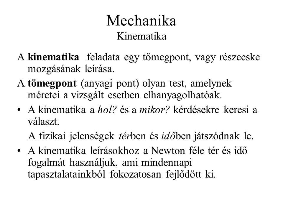 Mechanika Kinematika A kinematika feladata egy tömegpont, vagy részecske mozgásának leírása. A tömegpont (anyagi pont) olyan test, amelynek méretei a