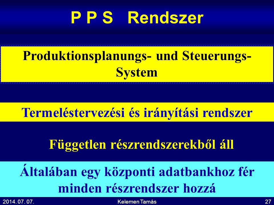 2014. 07. 07.Kelemen Tamás27 P P S Rendszer Termeléstervezési és irányítási rendszer Produktionsplanungs- und Steuerungs- System Független részrendsze