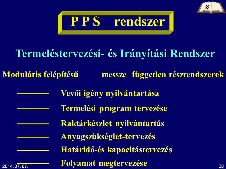 2014. 07. 07.Kelemen Tamás28 P P S rendszer Termeléstervezési- és Irányítási Rendszer Moduláris felépítésűmessze független részrendszerek Vevői igény