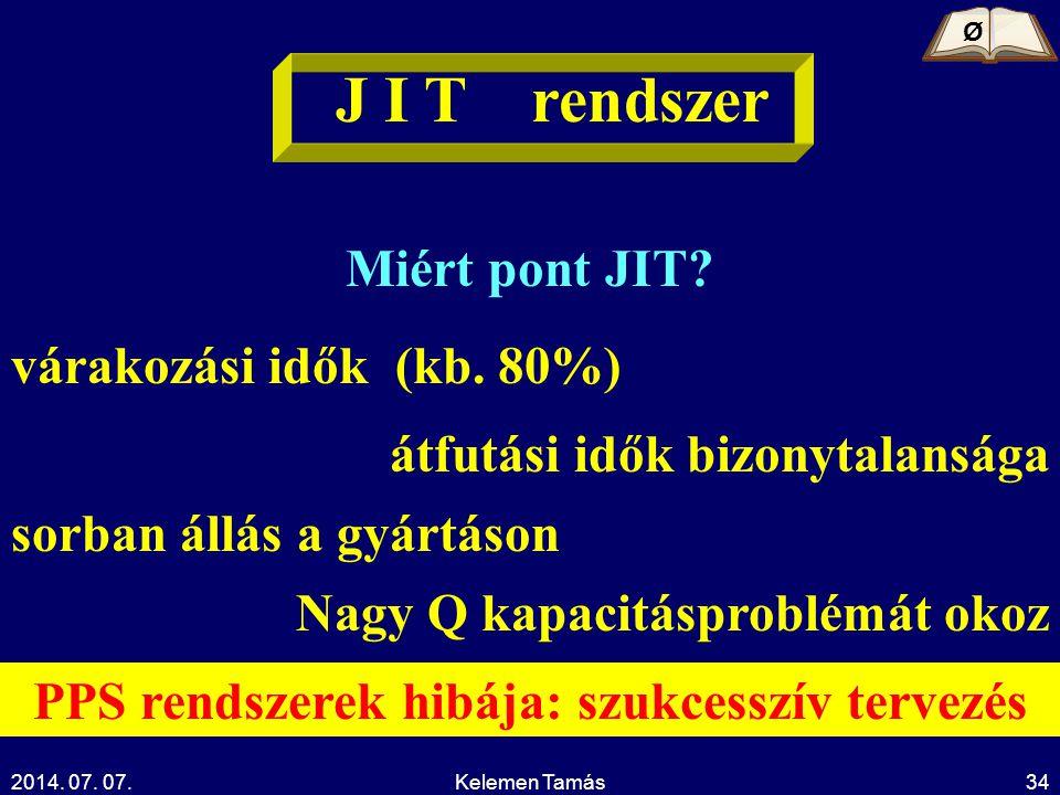 2014. 07. 07.Kelemen Tamás34 J I T rendszer Miért pont JIT? várakozási idők (kb. 80%) átfutási idők bizonytalansága sorban állás a gyártáson Nagy Q ka