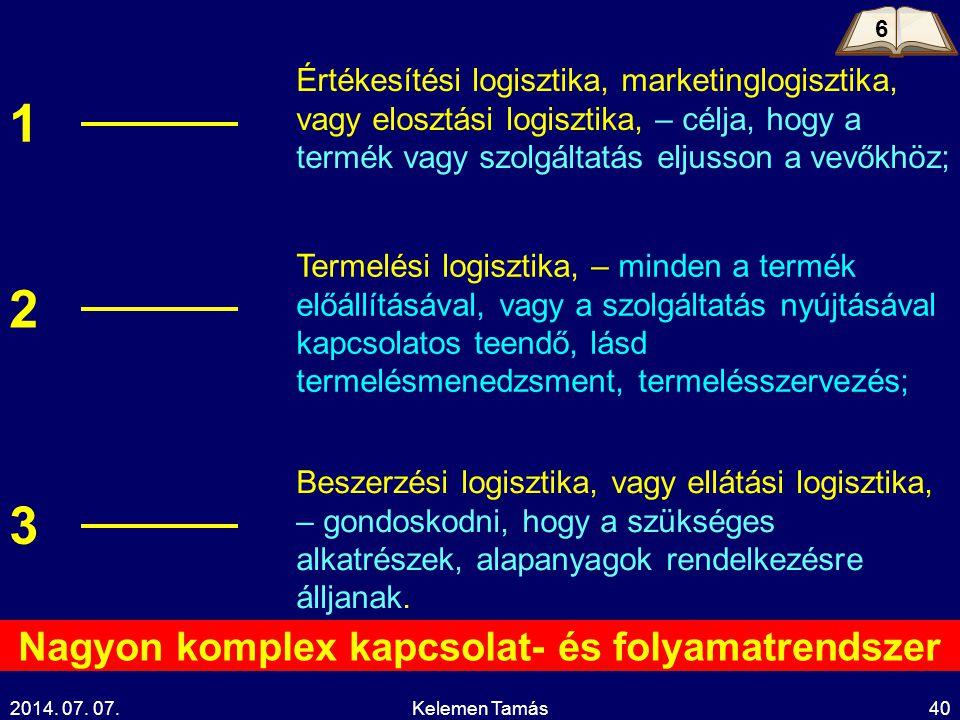 2014. 07. 07.Kelemen Tamás40 Értékesítési logisztika, marketinglogisztika, vagy elosztási logisztika, – célja, hogy a termék vagy szolgáltatás eljusso