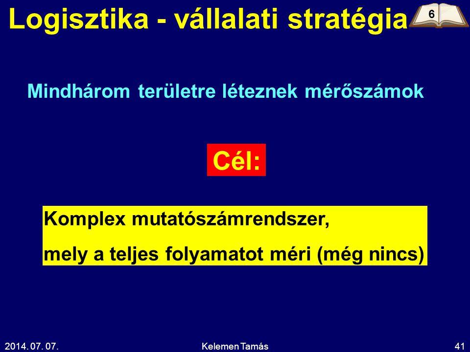 2014. 07. 07.Kelemen Tamás41 Logisztika - vállalati stratégia Cél: Komplex mutatószámrendszer, mely a teljes folyamatot méri (még nincs) Mindhárom ter