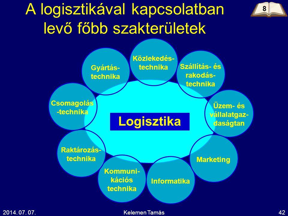 2014. 07. 07.Kelemen Tamás42 A logisztikával kapcsolatban levő főbb szakterületek Logisztika Gyártás- technika Kommuni- kációs technika Informatika Kö