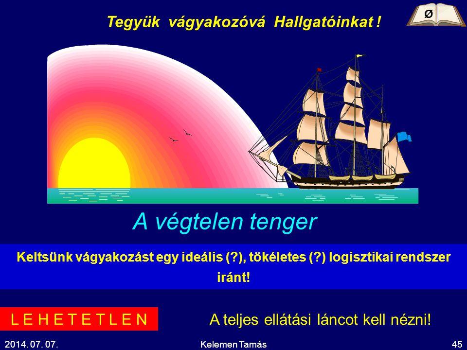 2014. 07. 07.Kelemen Tamás45 A végtelen tenger Tegyük vágyakozóvá Hallgatóinkat ! Keltsünk vágyakozást egy ideális (?), tökéletes (?) logisztikai rend