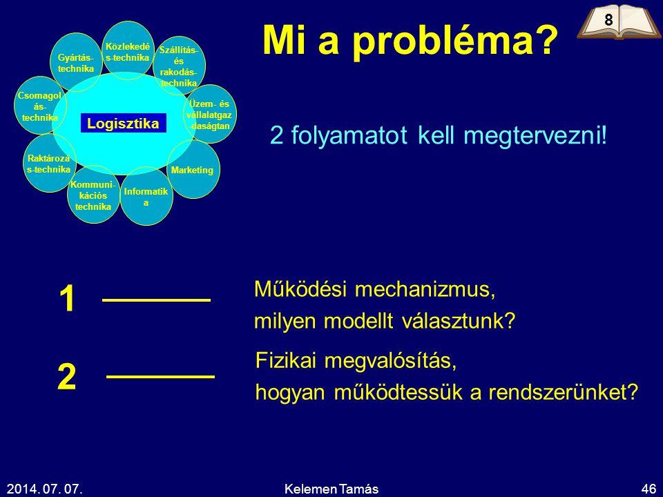 2014. 07. 07.Kelemen Tamás46 Mi a probléma? 2 folyamatot kell megtervezni! Működési mechanizmus, milyen modellt választunk? 1 Fizikai megvalósítás, ho