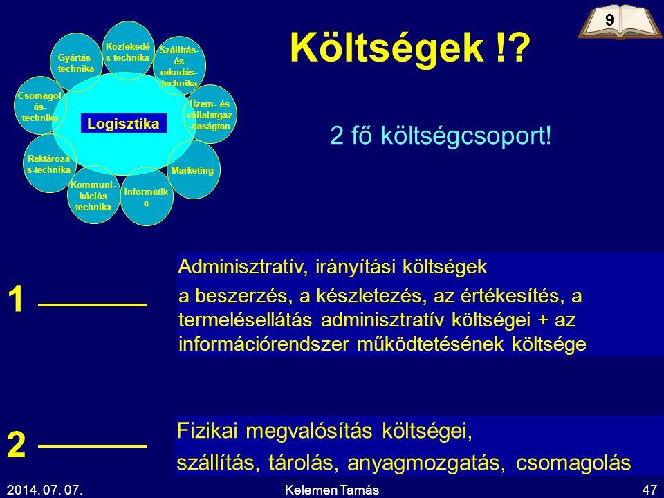 2014. 07. 07.Kelemen Tamás47 2 fő költségcsoport! Adminisztratív, irányítási költségek a beszerzés, a készletezés, az értékesítés, a termelésellátás a