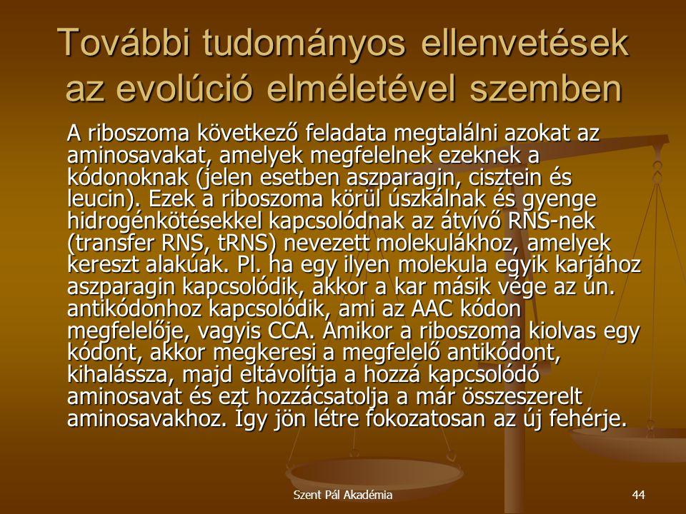 Szent Pál Akadémia44 További tudományos ellenvetések az evolúció elméletével szemben A riboszoma következő feladata megtalálni azokat az aminosavakat,