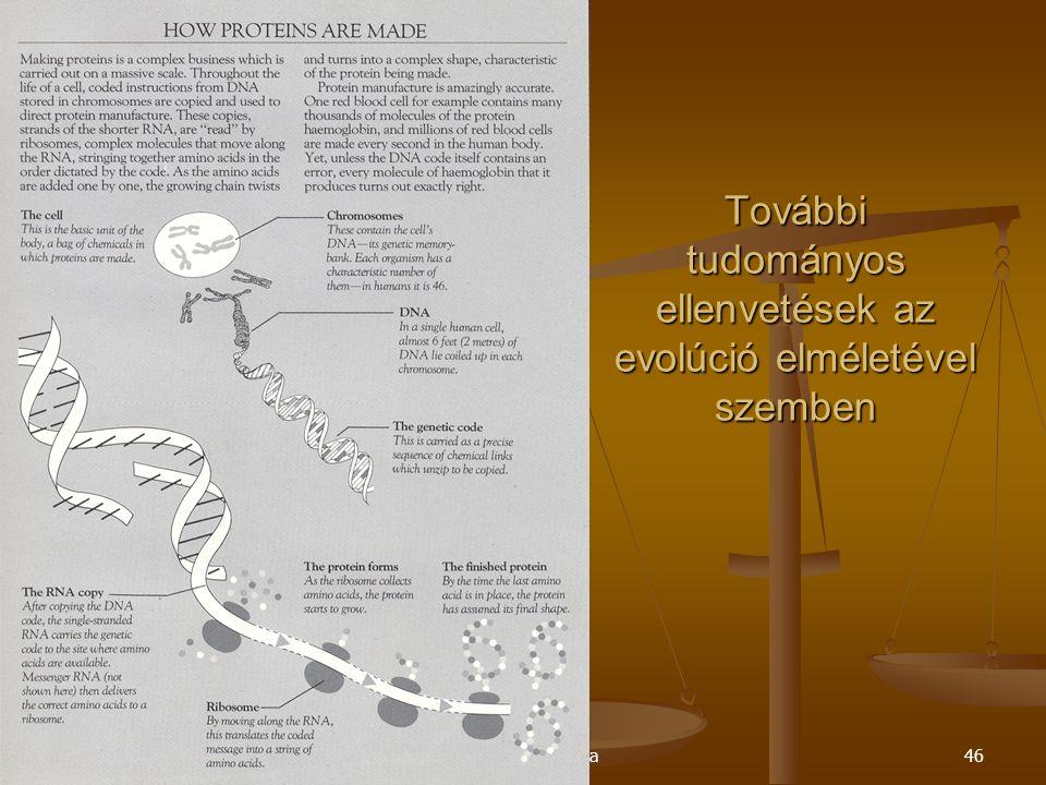 Szent Pál Akadémia46 További tudományos ellenvetések az evolúció elméletével szemben