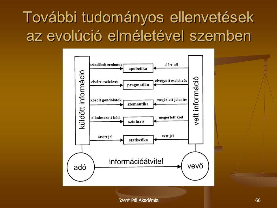 Szent Pál Akadémia66 További tudományos ellenvetések az evolúció elméletével szemben
